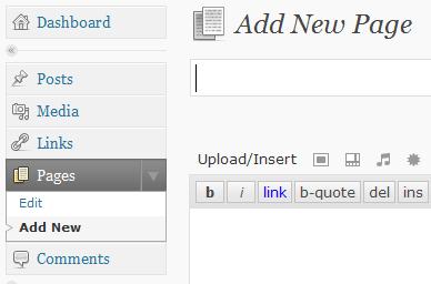 Het toevoegen van een page via Pages, Add new page in het menu van Wordpress