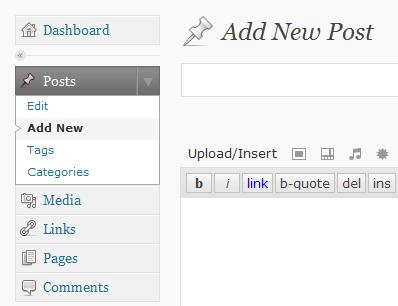 Het toevoegen van een post via Posts, Add new post in het Wordpress menu