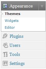 Selecteer Themes onder Appearance in het Wordpress menu