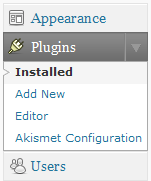Selecteer Installed onder Plugins in het menu van je Wordpress website